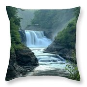 Letchworth Lower Falls Throw Pillow