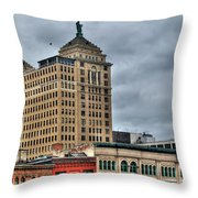 Liberty Building And Hotel Lafayette Throw Pillow