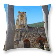 Library Of Celsus And Columns Throw Pillow