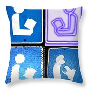 Library Sign Warhol Throw Pillow