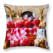 Licorice And Chocolate Covered Peanuts Throw Pillow by Susan Savad