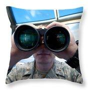 Lieutenant Uses Binoculars To Scan Throw Pillow by Stocktrek Images