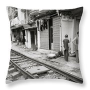 Life By The Tracks In Old Hanoi Throw Pillow