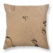 Footprints Mans Best Friend Throw Pillow