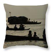 Life On Lake Tonel Sap Throw Pillow