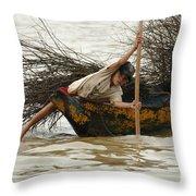 Life On Lake Tonle Sap 3 Throw Pillow