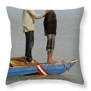 Life On Lake Tonle Sap 4 Throw Pillow