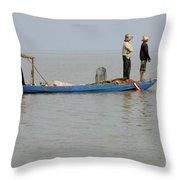 Life On Lake Tonle Sap 5 Throw Pillow