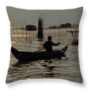 Life On Lake Tonle Sap 7 Throw Pillow