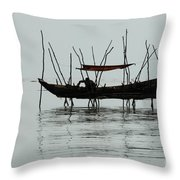 Life On Lake Tonle Sap  Throw Pillow