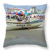 Lifeguard Boat At Ocean City Boardwalk New Jersey Throw Pillow
