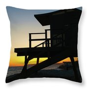 Lifeguard Silhouette Throw Pillow