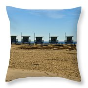 Lifeguard Stand's On The Beach Throw Pillow