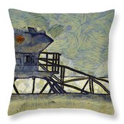 Lifeguard Station 17 Throw Pillow by Ernie Echols