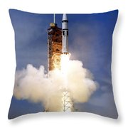Liftoff Of The Saturn Ib Launch Vehicle Throw Pillow