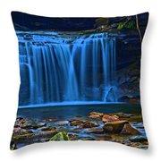 Light Blue Falls Throw Pillow