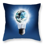 Light Bulb With Globe Throw Pillow