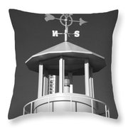 Light House On Coney Island In Black And White  Throw Pillow