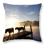 Light Of My Life Boxer Dogs On Dock Throw Pillow