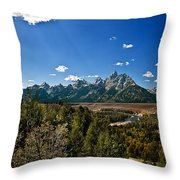 Light Rays On The Grand Tetons Throw Pillow