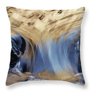 Light Reflected On Water Flowing Throw Pillow