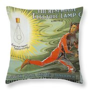 Lightbulb Ad, 1900 Throw Pillow