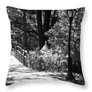 Lighted Bridge In Black And White Throw Pillow