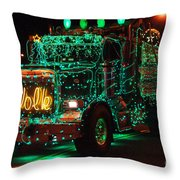 Lighted Green Dumptruck Throw Pillow