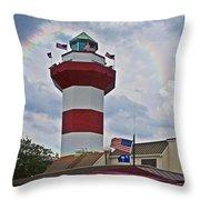 Lighthouse And Rainbow Throw Pillow