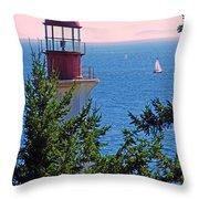 Lighthouse And Sailboats Throw Pillow