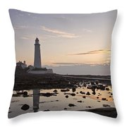 Lighthouse At Low Tide Throw Pillow