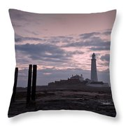 Lighthouse At Low Tide II Throw Pillow