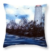 Lighthouse Blues Painterly Style Throw Pillow