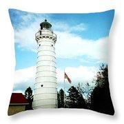 Lighthouse In Door County Throw Pillow
