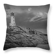 Lighthouse In The Moonlight At Peggy's Cove Nova Scotia Canada Throw Pillow