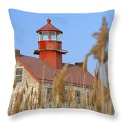 Lighthouse In Wheat Field Throw Pillow