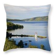 Lighthouse On Boulardarie Island Throw Pillow