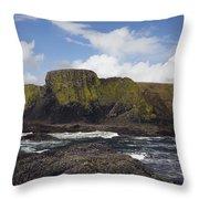 Lighthouse On Coastal Cliff Throw Pillow