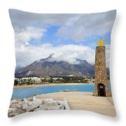 Lighthouse On Costa Del Sol In Spain Throw Pillow
