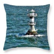 Lighthouse On The Blue Sea Throw Pillow
