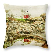 Lighthouse Reflections Throw Pillow by Darren Fisher