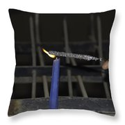 Lighting A Sparkler With A Candle As A Part Of Diwali Celebrations Throw Pillow