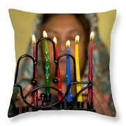 Lighting The Chanukia Throw Pillow