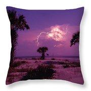 Lightning Illuminates The Purple Sky Throw Pillow