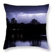 Lightning Over Coot Lake Throw Pillow