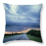 Lightning Over Highway, Bee Line Throw Pillow