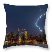 Lightning Over New York City Vii Throw Pillow