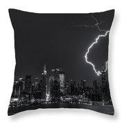 Lightning Over New York City Viii Throw Pillow
