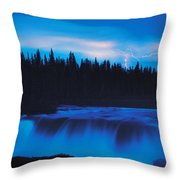Lightning Over Pisew Falls, Manitoba Throw Pillow