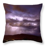 Lightning Strikes During A Thunderstorm Throw Pillow
